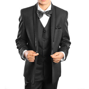 SUIT FOR BOYS 3-PIECE SOLID SHAWL LAPEL SUIT-B387