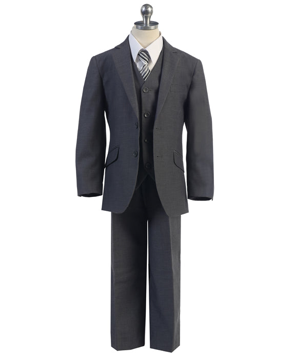Boys Slim Cut Suit Charcoal 692