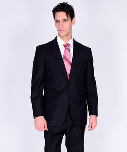 M40901-1 Mantoni Collection 2-PC 100% Wool Men's Suit - Black
