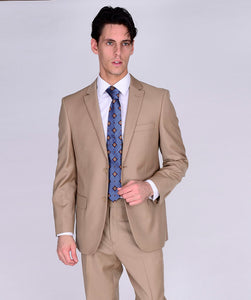 M40901-16 Mantoni Collection 2-PC 100% Wool Men's Suit - Camel