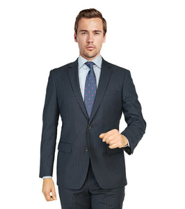 M87130-1 Mantoni Collection 2-PC 100% Wool Men's Suit - Navy Stripe