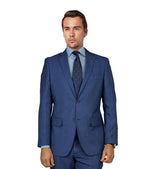 M87183-1 Mantoni Collection 2-PC 100% Wool Men's Suit - Blue Sharkskin