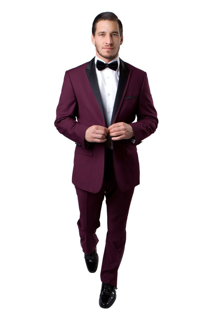 PEAK LAPEL TUXEDO SOLID SLIM FIT PROM TUXEDOS MT187S
