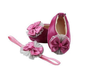 Baby Girl Ballet Flat Shoes with matching Headband for babies 0-6 months: LOVELY ORCHID, Ballerina Set, ZuriBabyCouture-Global