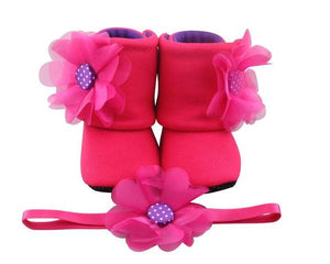 Baby Girl Booties and Headband Set for 12-18 months: Hot Pink Merliah, Booties Set, Zuri Baby Couture