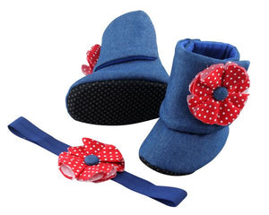 Baby Girl Booties and Headband Set for 6-12 months:  Denim and Red, Booties Set, Zuri Baby Couture