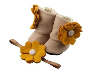 Baby Girl Booties and Headband Set for 6-12 months: Sweet Amber, Booties Set, Zuri Baby Couture