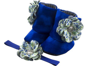 Baby Girl Booties and Headband Set for 12-18 months: Royal Blue Belle, Booties Set, Zuri Baby Couture