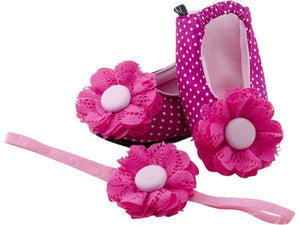 Baby Girl Ballet Flat Shoes with matching Headband for babies 12-18 months: Cutie Pinky, Ballerina Set, ZuriBabyCouture-Global