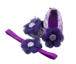 Baby Girl Ballet Flat Shoes with matching Headband for babies 0-6 months: IRIS ISLE, Ballerina Set, ZuriBabyCouture-Global