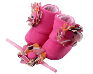 Baby Girl Booties and Headband Set for 0-12 months: Pink Carnival, Booties Set, ZuriBabyCouture-Global