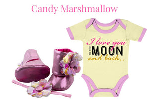 baby romper and booties for newborn and infant available at zuri baby couture