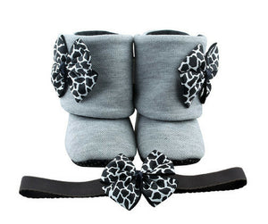 Baby Girl Booties and Headband Set for 12-18 months: Black Onyx, Booties Set, Zuri Baby Couture