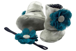 Baby Girl Booties and Headband Set for 6-12 months: Olive Garden, Booties Set, ZuriBabyCouture-Global