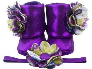 Baby Girl Booties and Headband Set for 0-12 months: Eye Catching Amethyst, Booties Set, ZuriBabyCouture-Global