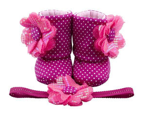 Baby Girl Booties and Headband Set for 12-18 months: Fun with Fuchsia, Booties Set, Zuri Baby Couture