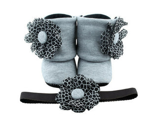 Baby Girl Booties and Headband Set for 6-18 months: Monotone Missy Booties, Booties Set, Zuri Baby Couture
