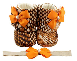 Baby Girl Booties and Headband Set for 0-12 months: Tiger Lily, Booties Set, ZuriBabyCouture-Global