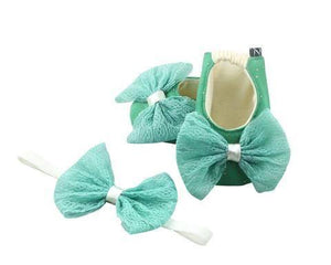 Baby Girl Ballet Flat Shoes with matching Headband for babies 3-9 months: Care for Mint, Ballerina Set, ZuriBabyCouture-Global