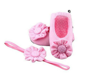 Baby Girl Ballet Flat Shoes with matching Headband for babies 0-6 months: PRETTY PINK RENDEVOUS IT WAS!, Ballerina Set, ZuriBabyCouture-Global