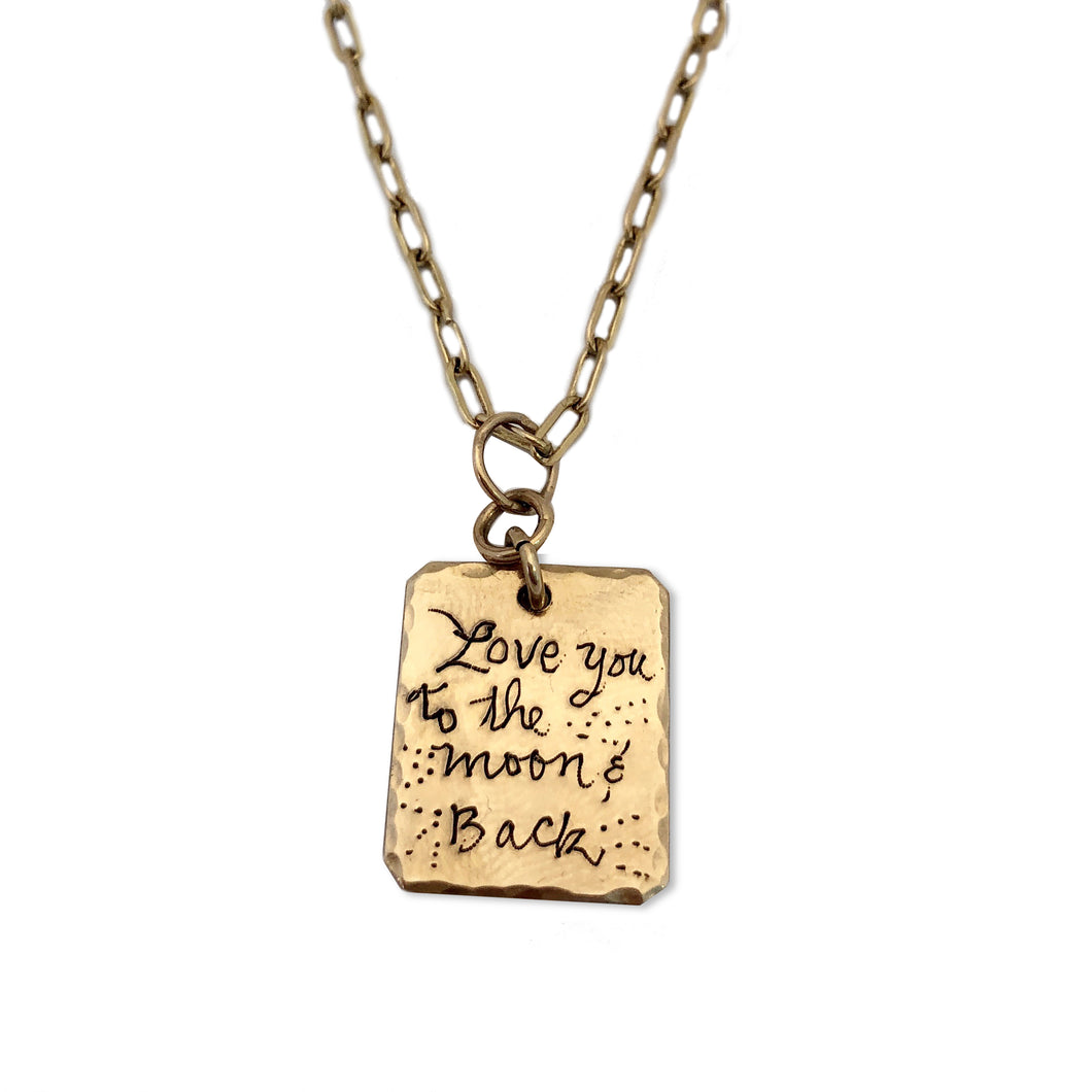 SCRIPT Rectangle Page Necklace
