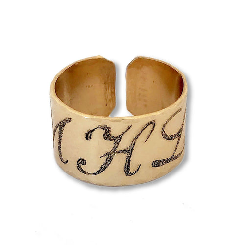 CUFF Ring with Script Initials