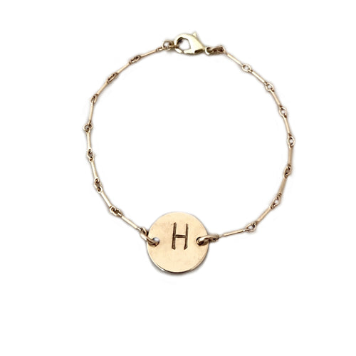STAMPED INITIAL DISC BRACELET