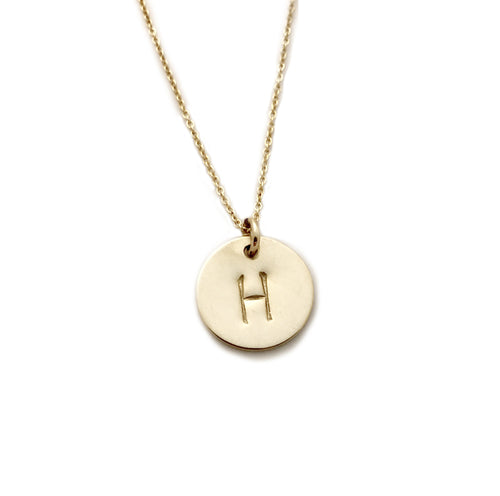 Personalized Initial Gold Disc Necklace by Hollymarie Jewelry