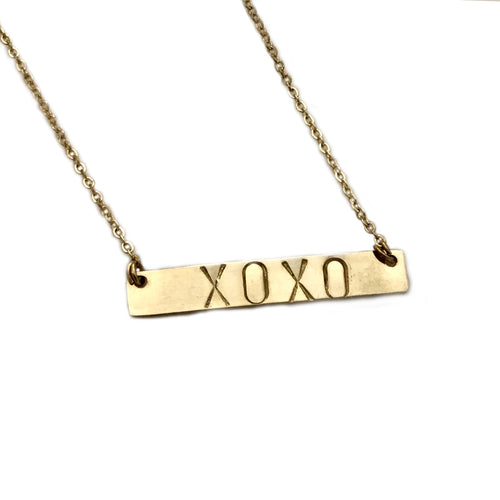STAMPED LARGE LETTER BAR Necklace