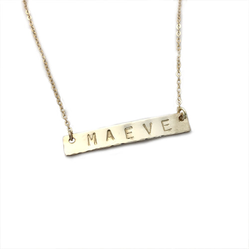 Hand Stamped Personalized Name Bar Necklace by Hollymarie Jewelry