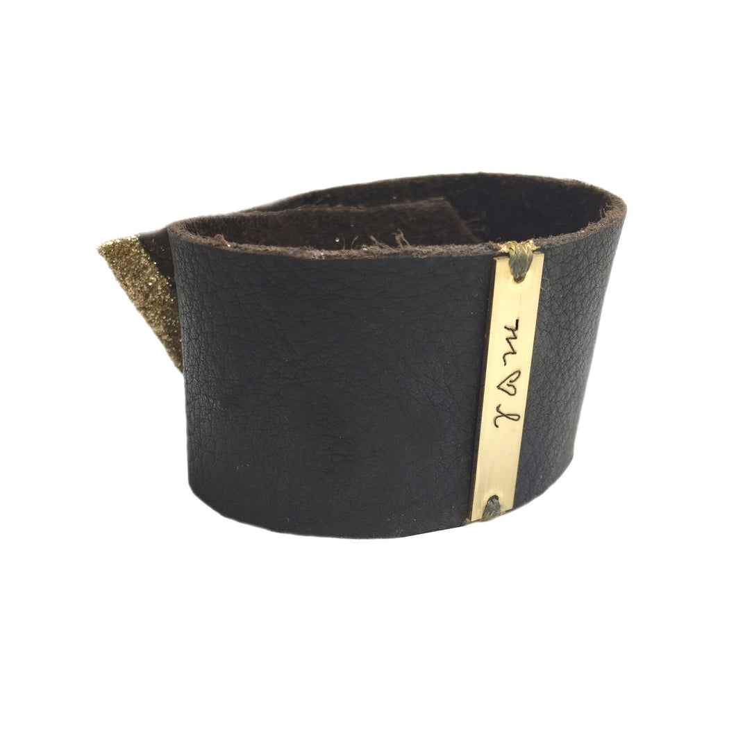 LEATHER CUFF with Gold Bar