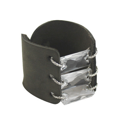 LEATHER CUFF with SWAROVSKI CRYSTALS