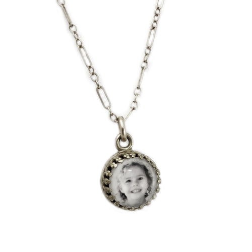 PHOTO CHARM Fancy Edge Necklace / .925 Sterling