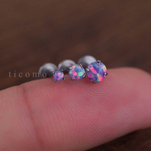 Triple Helix Earring Cartilage Earring 16g Cartilage Helix Piercing Tragus Piercing Earring Fire Opal Internal thread White Purple