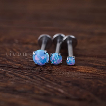 Triple Helix Earring Cartilage Earring 16g Cartilage Helix Piercing Tragus Earring Tragus Piercing Fire Opal Internal Thread Blue