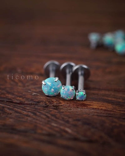 Triple Helix Earring Cartilage Earring 16g Cartilage Helix Piercing Tragus Earring Tragus Piercing Fire Opal Internal Thread Green