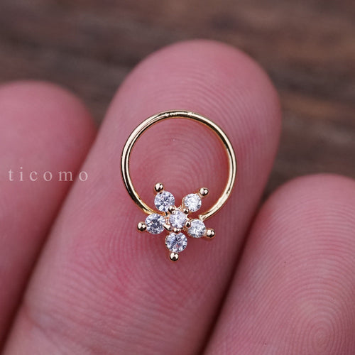 Daith Piercing Hoop Daith Hoop Earring Small Hoop Earrings Septum Ring Septum Piercing Rook Piercing Flower