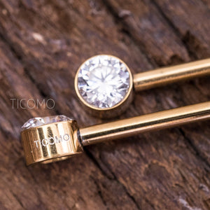 Clear Zircon Minimalist Gold Nipple Ring Nipple Piercing Nipple Jewelry Nipple Barbell