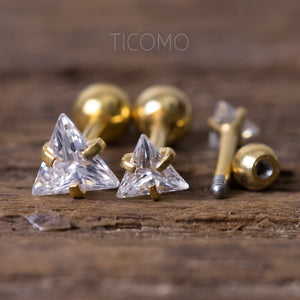 Triangle Zircon 16G Triple Cartilage Piercing Helix Piercing Tragus Earring Tragus Piercing Barbell Ball Post Gold