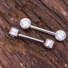 Clear Zircon Minimalist Silver Nipple Ring Nipple Piercing Nipple Jewelry Nipple Barbell