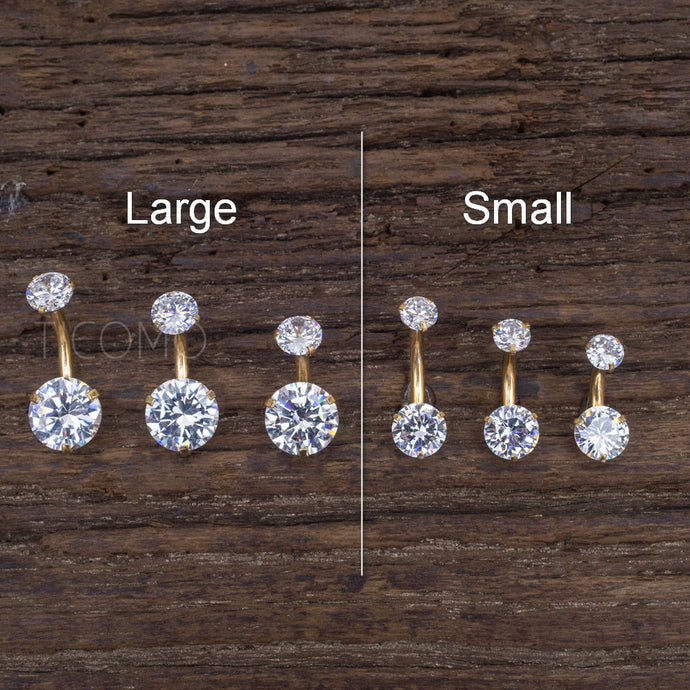 Minimalist Belly Ring Belly Button Ring Belly Button Jewelry Double Zircon Short bar Small Size 6 8 10 mm