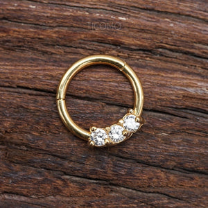 Daith Piercing Hoop Daith Hoop Septum Ring Septum Piercing Rook Earring Rook Piercing 16g BCR Gold Zircon