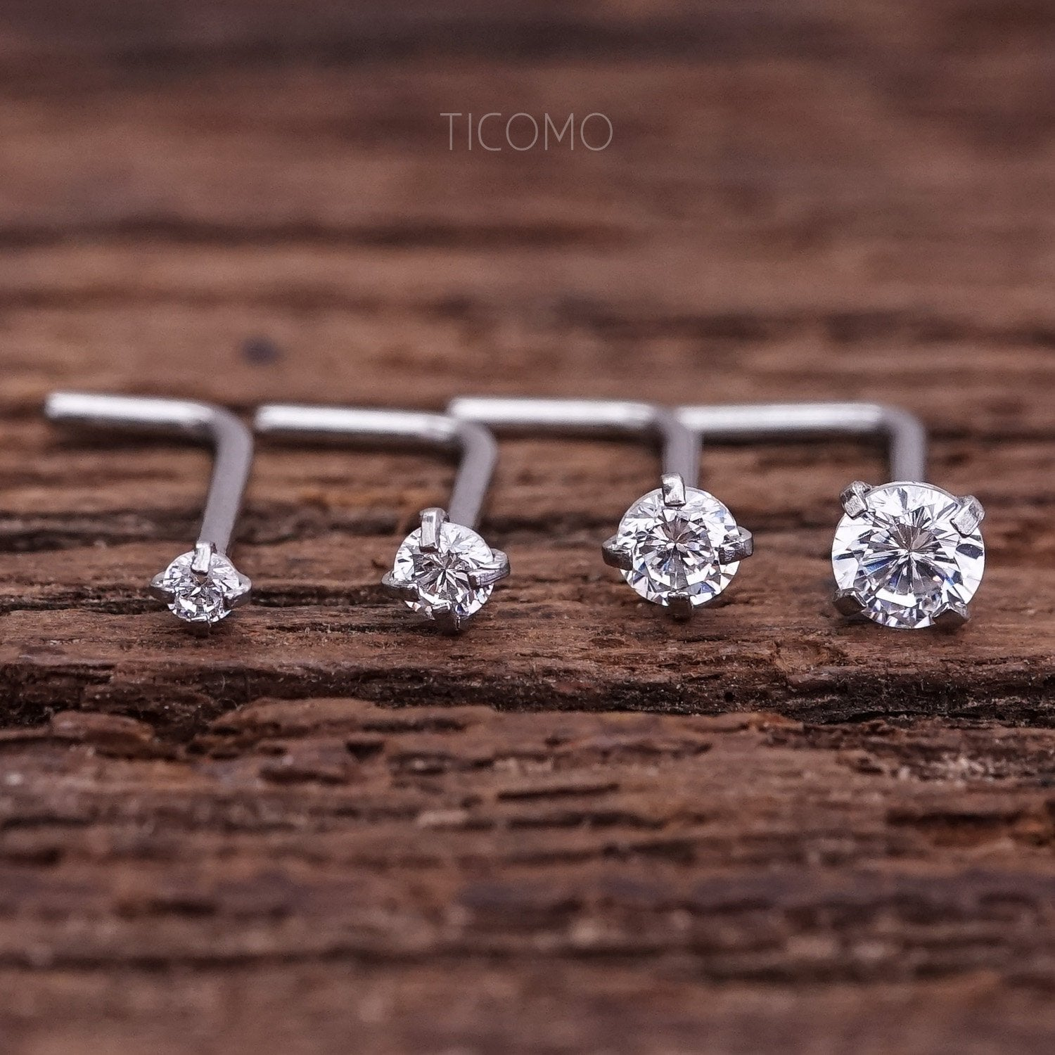 Nose Stud Nose Piercing Nose Ring Simple Base Silver Tiny Zircon 1.5mm 2mm Curve Post 20g