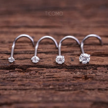 Nose Stud Nose Piercing Nose Ring Simple Base Silver Tiny Zircon 1.5mm 2mm L Post Curve 20g