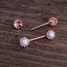 Nipple Ring Nipple Piercing Nipple Jewelry Nipple barbell White Fire Opal Zircon Flower Rose Gold