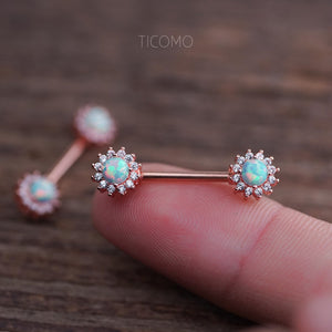 Nipple Ring Nipple Piercing Nipple Jewelry Nipple barbell Green Fire Opal Zircon Flower Rose Gold