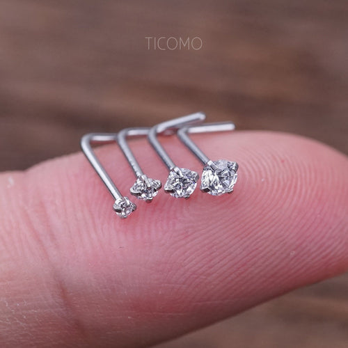 Nose Stud Nose Piercing Nose Ring Simple Base Silver Tiny Zircon 1.5mm 2mm L Post Stainless steel Curve 20g
