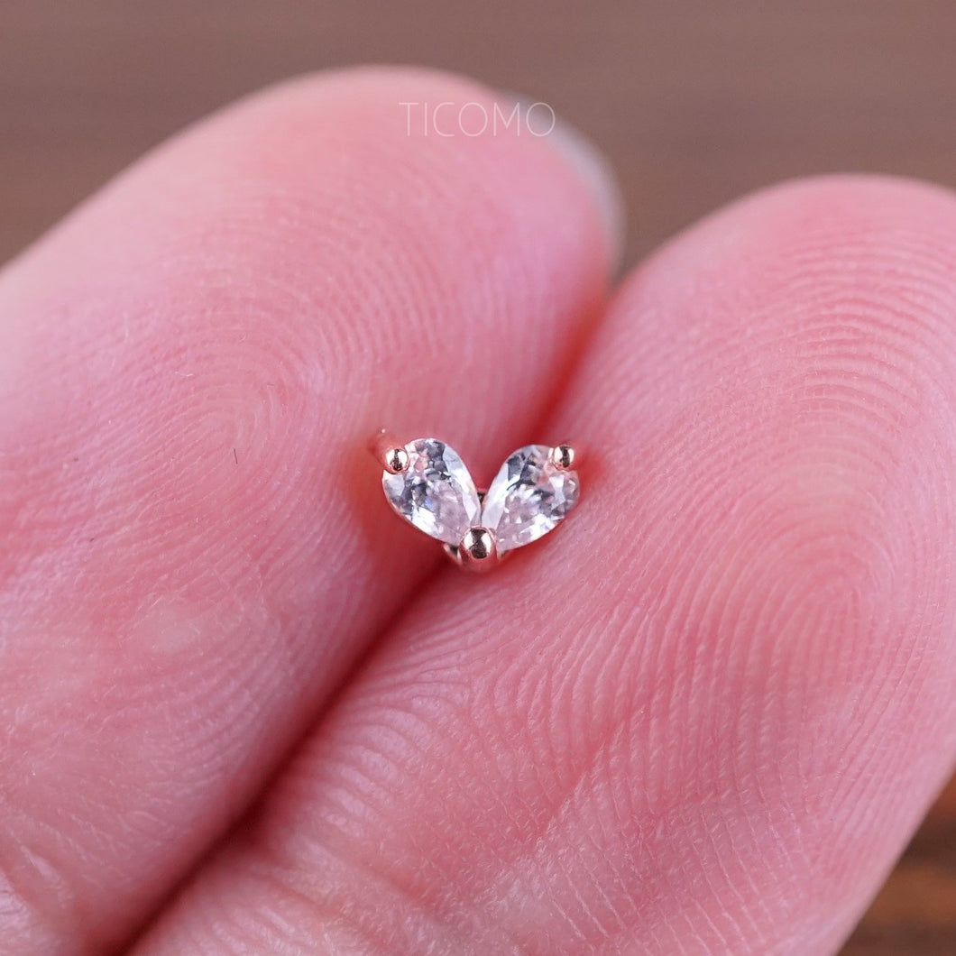 Heart Cartilage Earring 16g Helix Earring Helix Piercing Tragus Earring Tragus Piercing Cartilage Piercing Zircon Ball Post