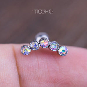 Rainbow Zircon Cartilage Earring 16g Helix Earring Helix Piercing Cartilage Stud Cartilage Piercing