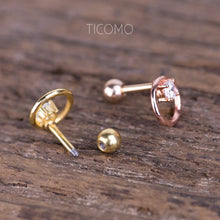 Minimalist Circle Zircon Cartilage Earring 16g Helix Earring Helix Piercing Cartilage Stud Cartilage Piercing Conch Piercing